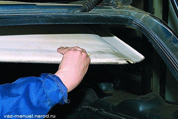 Обезжириваем внутреннюю поверхность панели крыши уайт-спиритом и наклеиваем детали шумоизоляции согласно схеме (см...